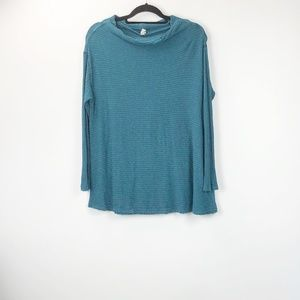Free People Teal Lover Ribbed Slip Back Sweater
